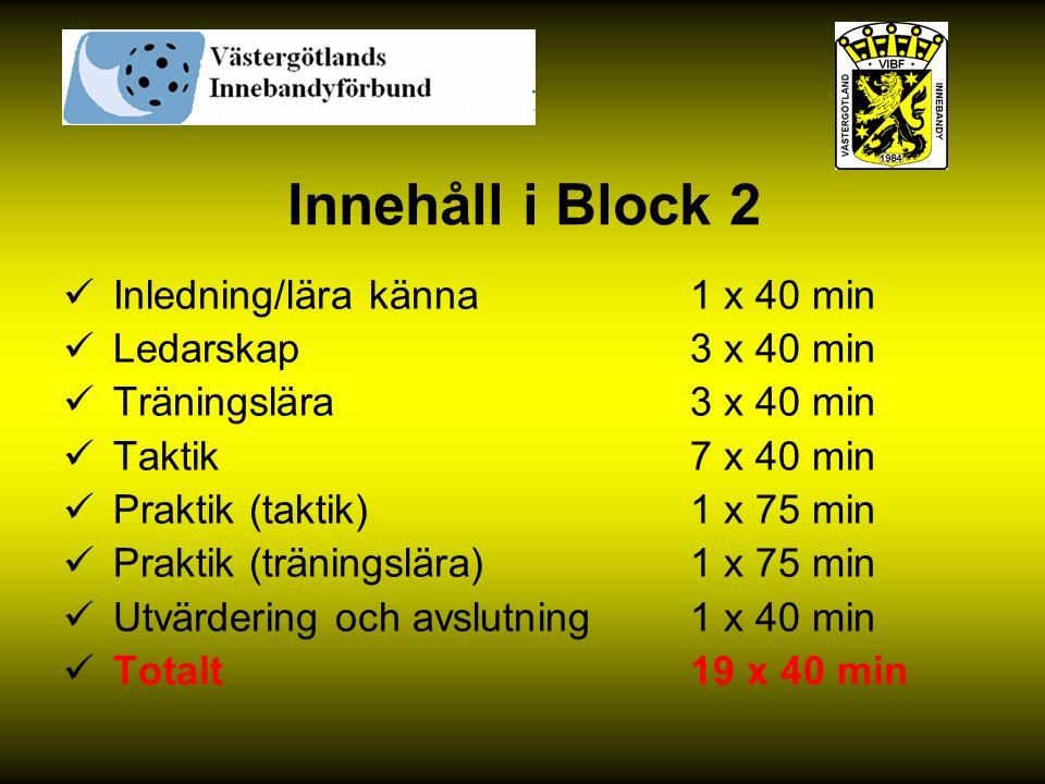 Innehåll i Block 2 Inledning/lära känna 1 x 40 min Ledarskap 3 x 40 min Träningslära 3 x 40 min Taktik 7 x 40 min Praktik (taktik) 1 x 75 min Praktik
