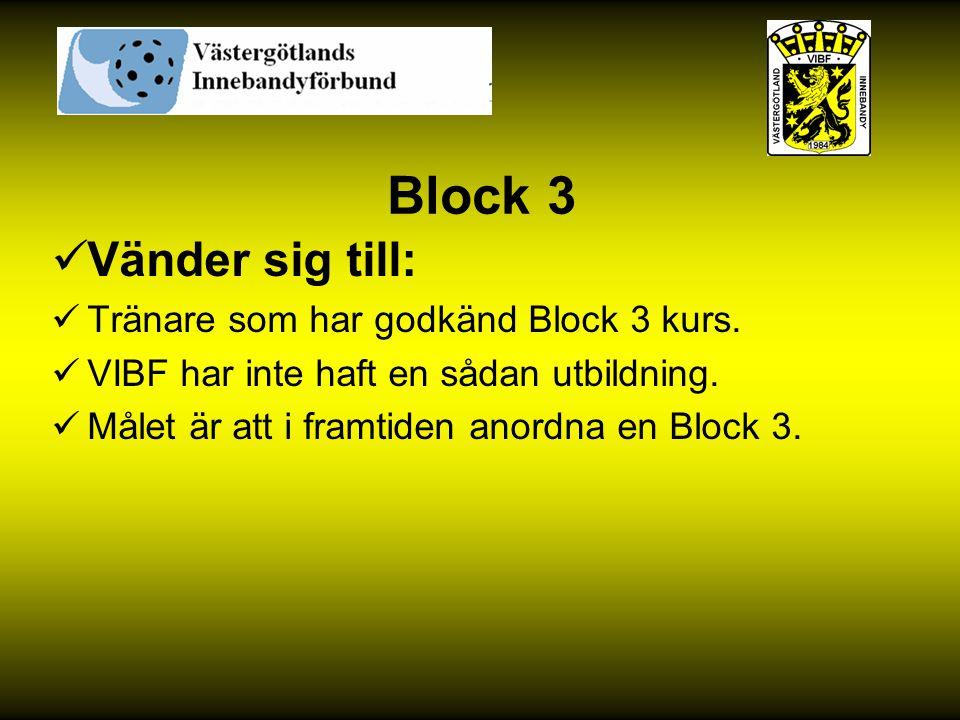 Block 3 Vänder sig till: Tränare som har godkänd Block 3 kurs. VIBF har inte haft en sådan utbildning. Målet är att i framtiden anordna en Block 3.