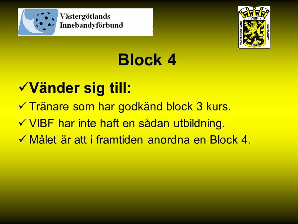 Block 4 Vänder sig till: Tränare som har godkänd block 3 kurs. VIBF har inte haft en sådan utbildning. Målet är att i framtiden anordna en Block 4.
