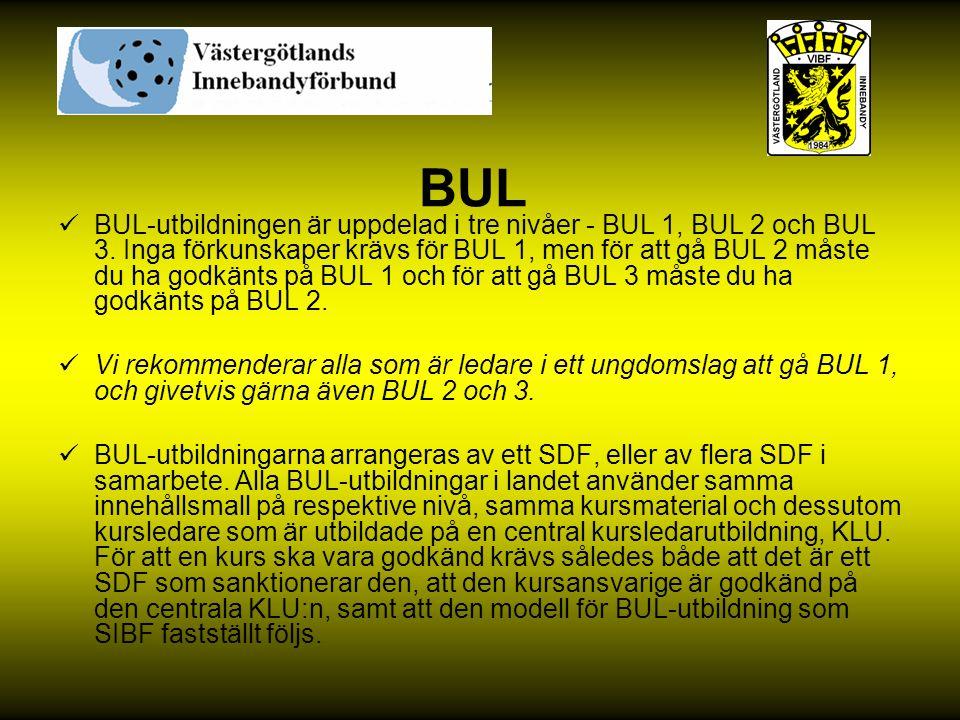 BUL BUL-utbildningen är uppdelad i tre nivåer - BUL 1, BUL 2 och BUL 3. Inga förkunskaper krävs för BUL 1, men för att gå BUL 2 måste du ha godkänts p