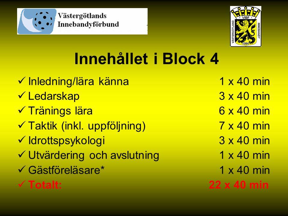 Innehållet i Block 4 Inledning/lära känna 1 x 40 min Ledarskap 3 x 40 min Tränings lära 6 x 40 min Taktik (inkl. uppföljning) 7 x 40 min Idrottspsykol