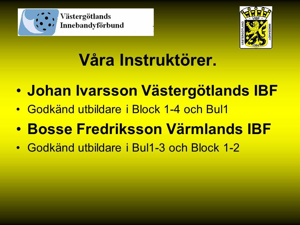 Våra Instruktörer. Johan Ivarsson Västergötlands IBF Godkänd utbildare i Block 1-4 och Bul1 Bosse Fredriksson Värmlands IBF Godkänd utbildare i Bul1-3