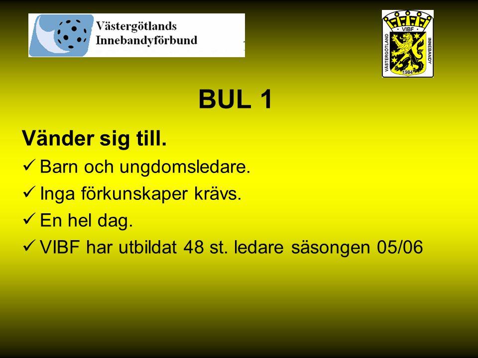 BUL 1 Vänder sig till. Barn och ungdomsledare. Inga förkunskaper krävs. En hel dag. VIBF har utbildat 48 st. ledare säsongen 05/06