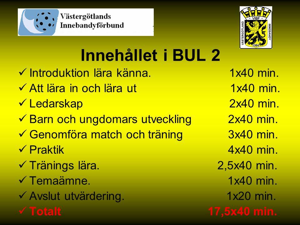 Innehållet i BUL 2 Introduktion lära känna. 1x40 min. Att lära in och lära ut 1x40 min. Ledarskap 2x40 min. Barn och ungdomars utveckling 2x40 min. Ge