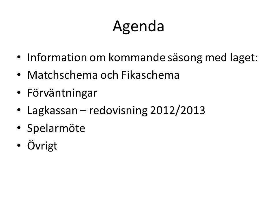 Agenda Information om kommande säsong med laget: Matchschema och Fikaschema Förväntningar Lagkassan – redovisning 2012/2013 Spelarmöte Övrigt