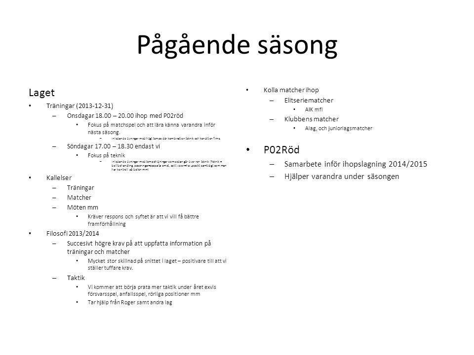 Pågående säsong Laget Träningar (2013-12-31) – Onsdagar 18.00 – 20.00 ihop med P02röd Fokus på matchspel och att lära känna varandra inför nästa säsong.