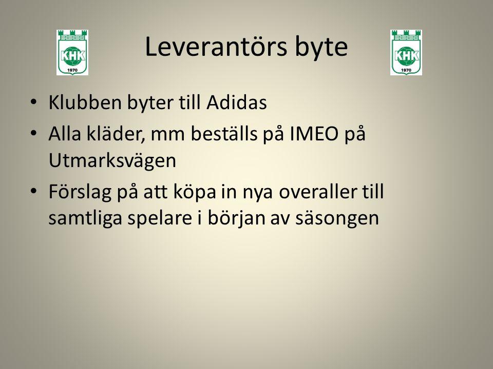 Leverantörs byte Klubben byter till Adidas Alla kläder, mm beställs på IMEO på Utmarksvägen Förslag på att köpa in nya overaller till samtliga spelare i början av säsongen