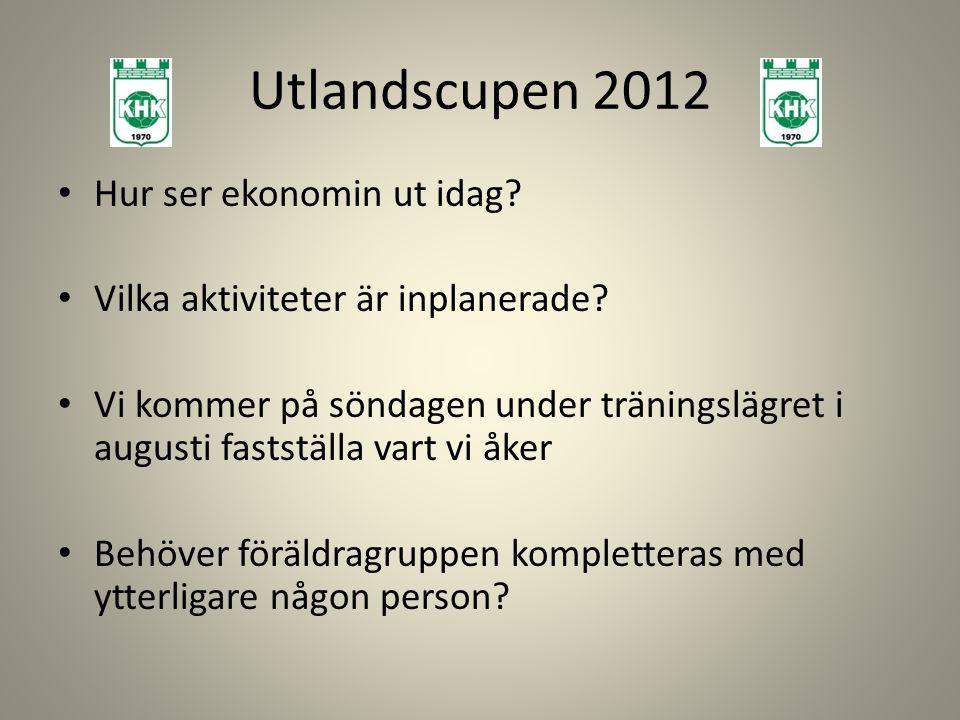 Utlandscupen 2012 Hur ser ekonomin ut idag.Vilka aktiviteter är inplanerade.