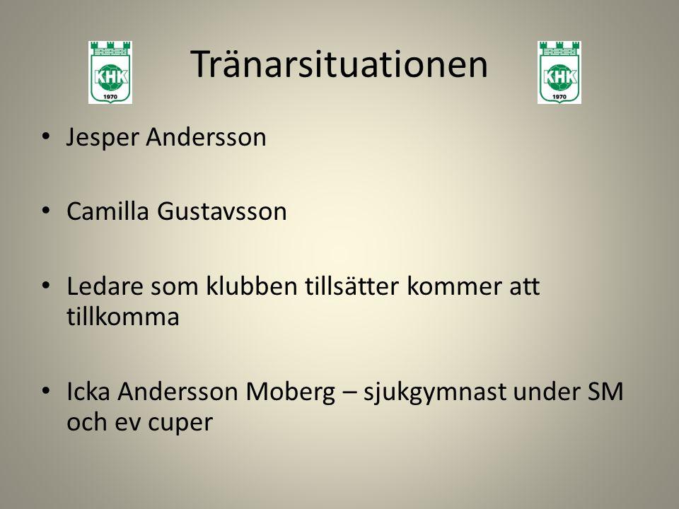 Tränarsituationen Jesper Andersson Camilla Gustavsson Ledare som klubben tillsätter kommer att tillkomma Icka Andersson Moberg – sjukgymnast under SM och ev cuper