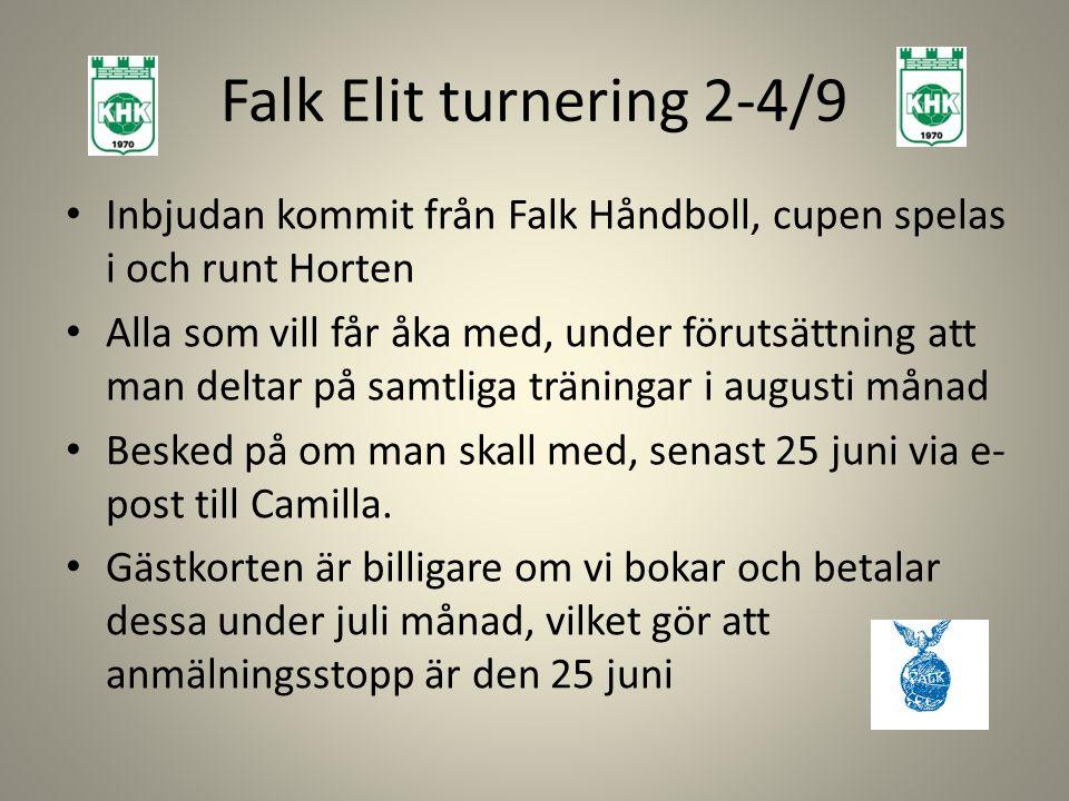 Falk Elit turnering 2-4/9 Inbjudan kommit från Falk Håndboll, cupen spelas i och runt Horten Alla som vill får åka med, under förutsättning att man deltar på samtliga träningar i augusti månad Besked på om man skall med, senast 25 juni via e- post till Camilla.