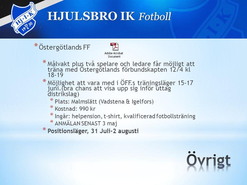 * Östergötlands FF * Målvakt plus två spelare och ledare får möjligt att träna med Östergötlands förbundskapten 12/4 kl 18-19 * Möjlighet att vara med i ÖFF.s träningsläger 15-17 juni.(bra chans att visa upp sig inför uttag distrikslag) * Plats: Malmslätt (Vadstena & Igelfors) * Kostnad: 990 kr * Ingår: helpension, t-shirt, kvalificerad fotbollsträning * ANMÄLAN SENAST 3 maj * Positionsläger, 31 Juli-2 augusti