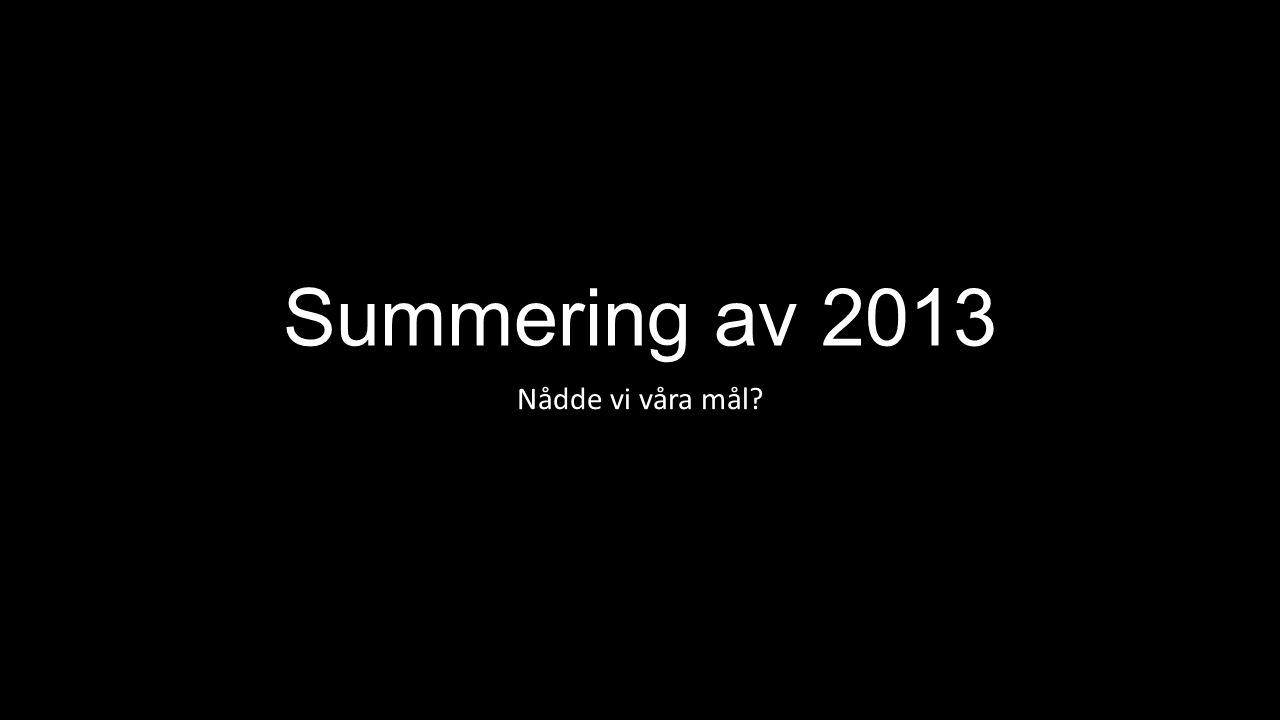 Summering av 2013 Nådde vi våra mål