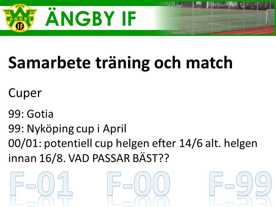 Samarbete träning och match Cuper 99: Gotia 99: Nyköping cup i April 00/01: potentiell cup helgen efter 14/6 alt.