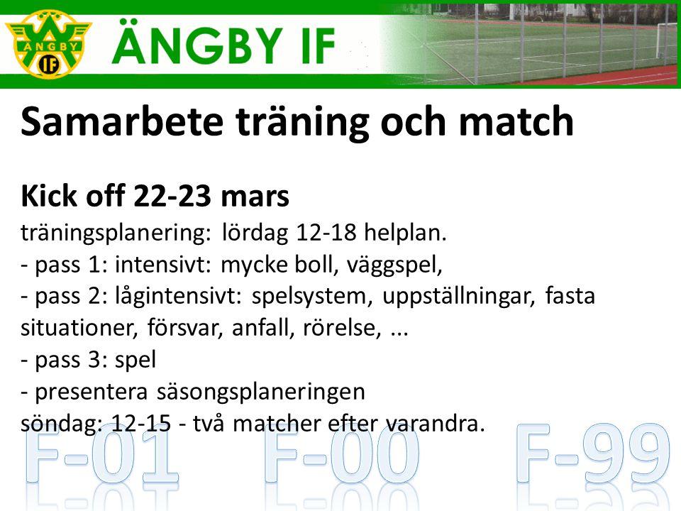 Samarbete träning och match Kick off 22-23 mars träningsplanering: lördag 12-18 helplan.