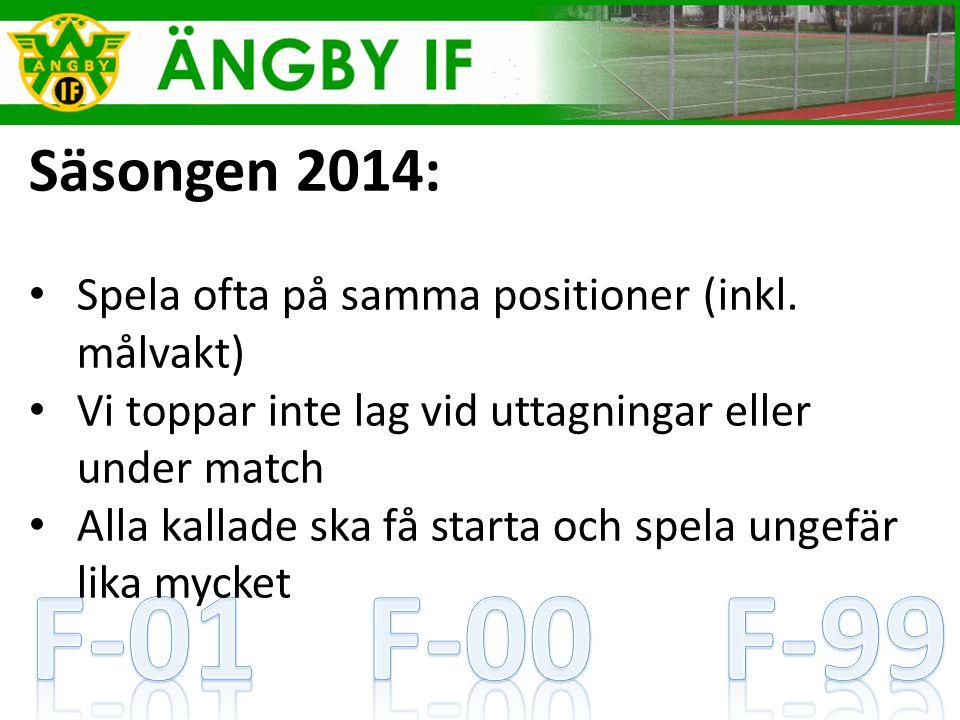 Säsongen 2014: Spela ofta på samma positioner (inkl.