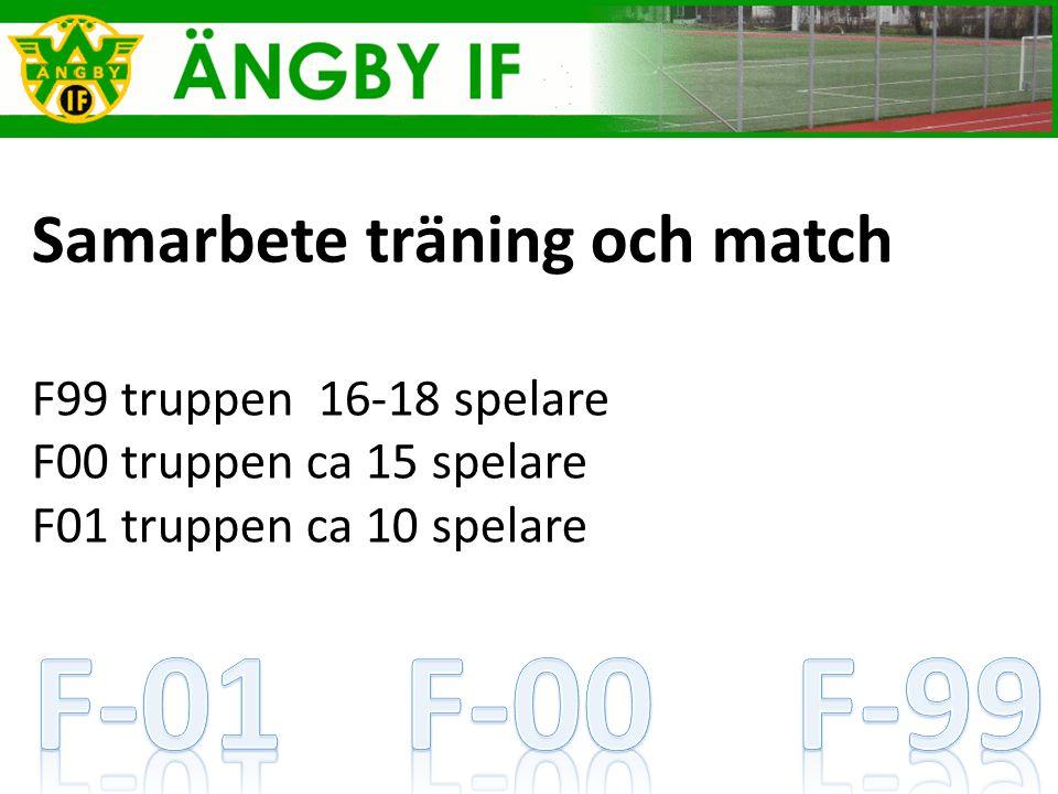 Samarbete träning och match F99 truppen 16-18 spelare F00 truppen ca 15 spelare F01 truppen ca 10 spelare