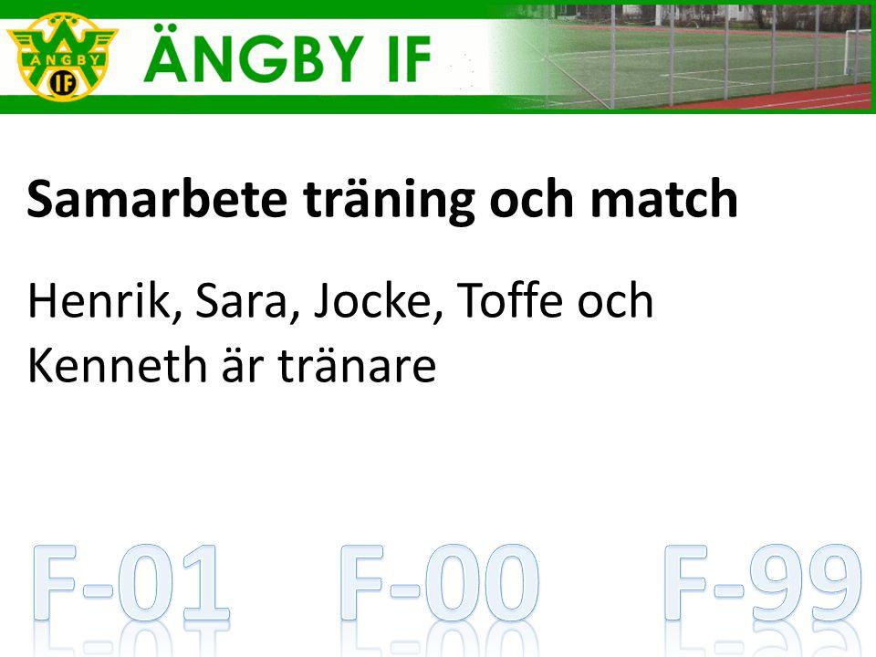 Samarbete träning och match Henrik, Sara, Jocke, Toffe och Kenneth är tränare