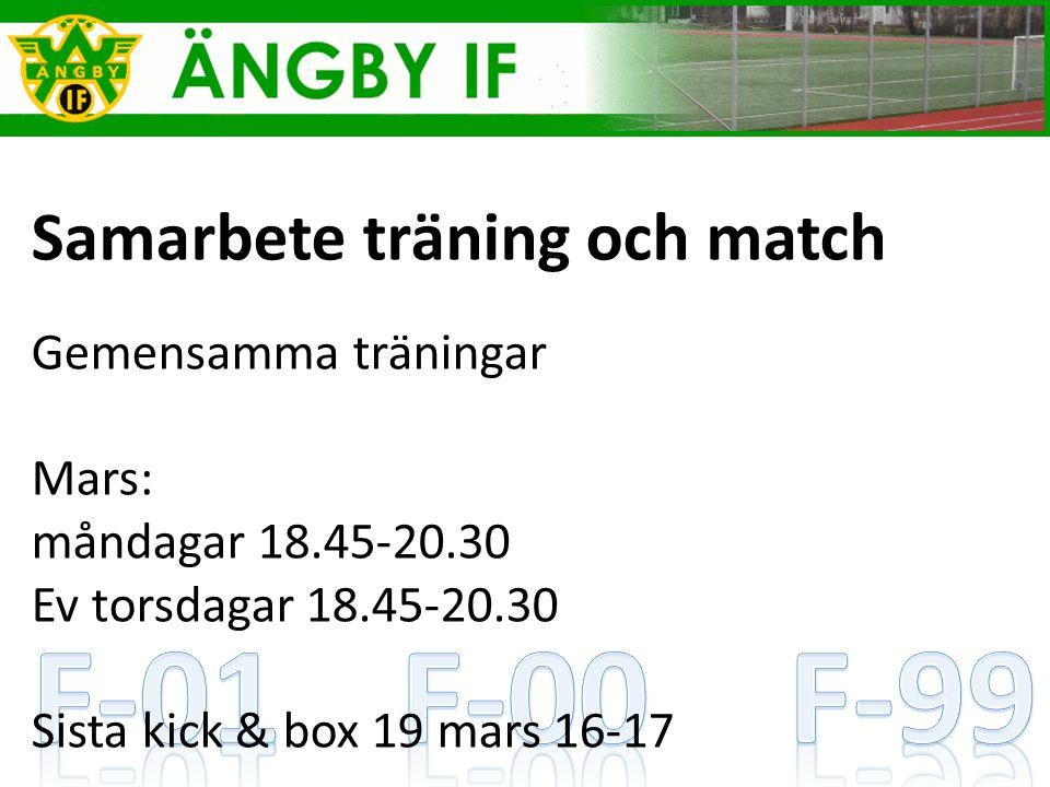 Samarbete träning och match Gemensamma träningar Mars: måndagar 18.45-20.30 Ev torsdagar 18.45-20.30 Sista kick & box 19 mars 16-17
