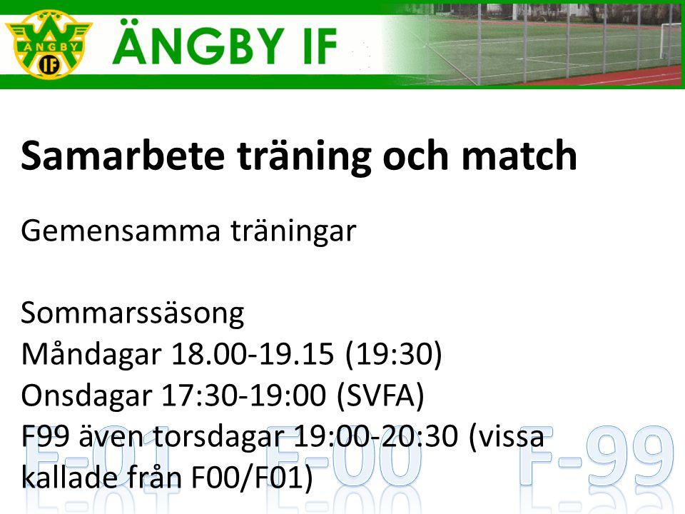 Samarbete träning och match Gemensamma träningar Sommarssäsong Måndagar 18.00-19.15 (19:30) Onsdagar 17:30-19:00 (SVFA) F99 även torsdagar 19:00-20:30 (vissa kallade från F00/F01)