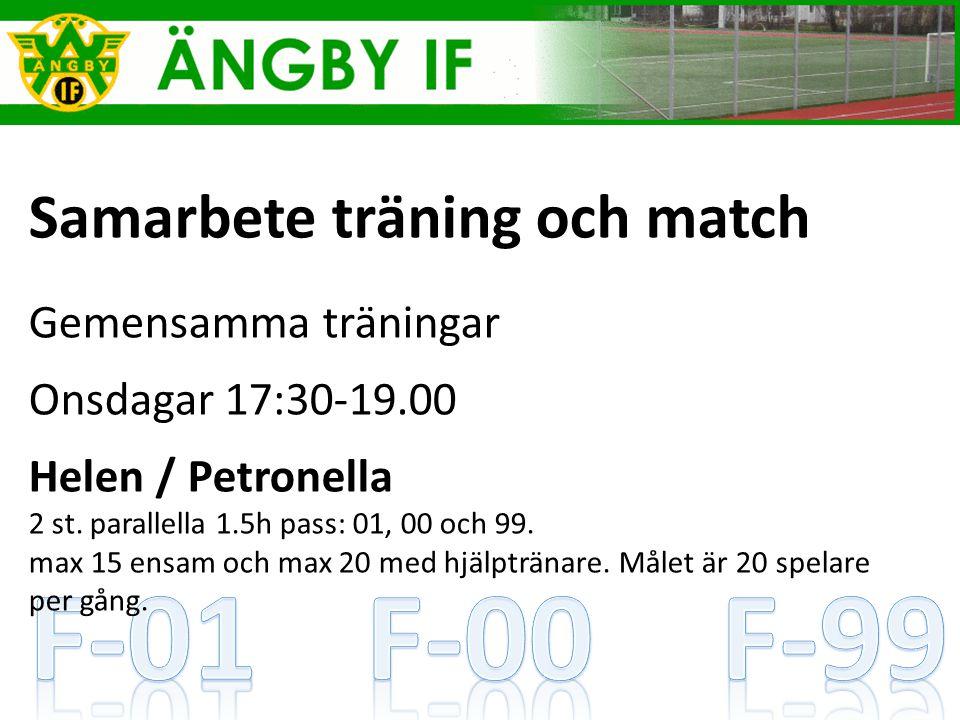 Samarbete träning och match Gemensamma träningar Onsdagar 17:30-19.00 Helen / Petronella 2 st.