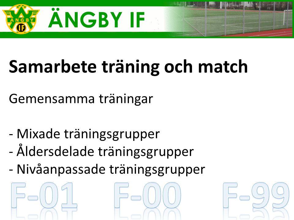 Samarbete träning och match Gemensamma träningar - Mixade träningsgrupper - Åldersdelade träningsgrupper - Nivåanpassade träningsgrupper