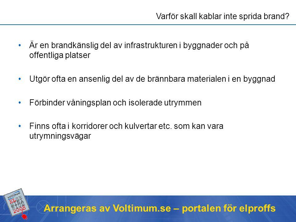 Arrangeras av Voltimum.se – portalen för elproffs Ett mått på hur elden/branden sprids längs kabeln Har ingenting med funktionen av kabeln i övrigt att göra Utförs som prov på enbart kabel, hör inte ihop med EI30/EI60 mm Vad menas med brandspridningsklass.