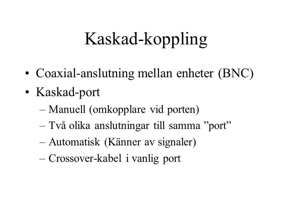 Coaxial-anslutning mellan enheter (BNC) Kaskad-port –Manuell (omkopplare vid porten) –Två olika anslutningar till samma port –Automatisk (Känner av signaler) –Crossover-kabel i vanlig port