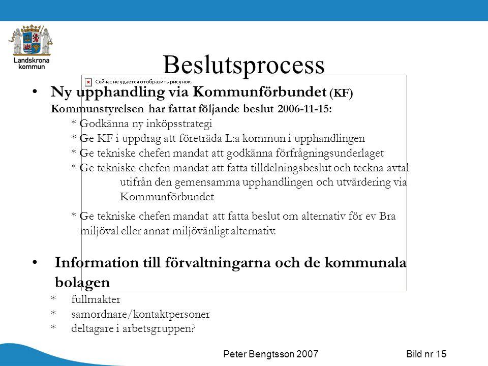 Peter Bengtsson 2007Bild nr 15 Beslutsprocess Ny upphandling via Kommunförbundet (KF) Kommunstyrelsen har fattat följande beslut 2006-11-15: * Godkänn