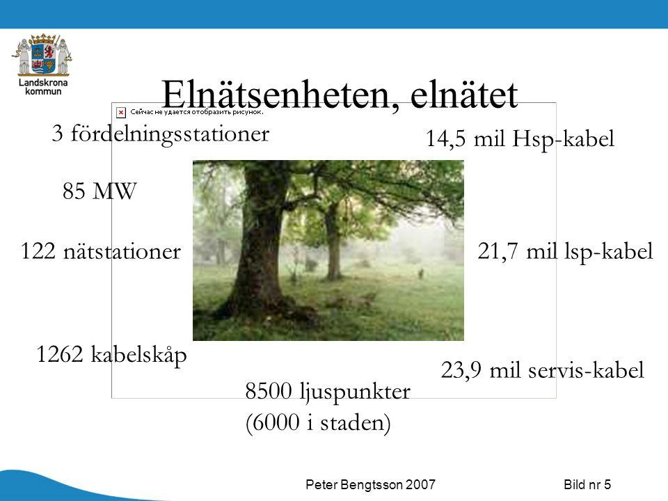Peter Bengtsson 2007Bild nr 5 Elnätsenheten, elnätet 85 MW 1262 kabelskåp 8500 ljuspunkter (6000 i staden) 14,5 mil Hsp-kabel 23,9 mil servis-kabel 3