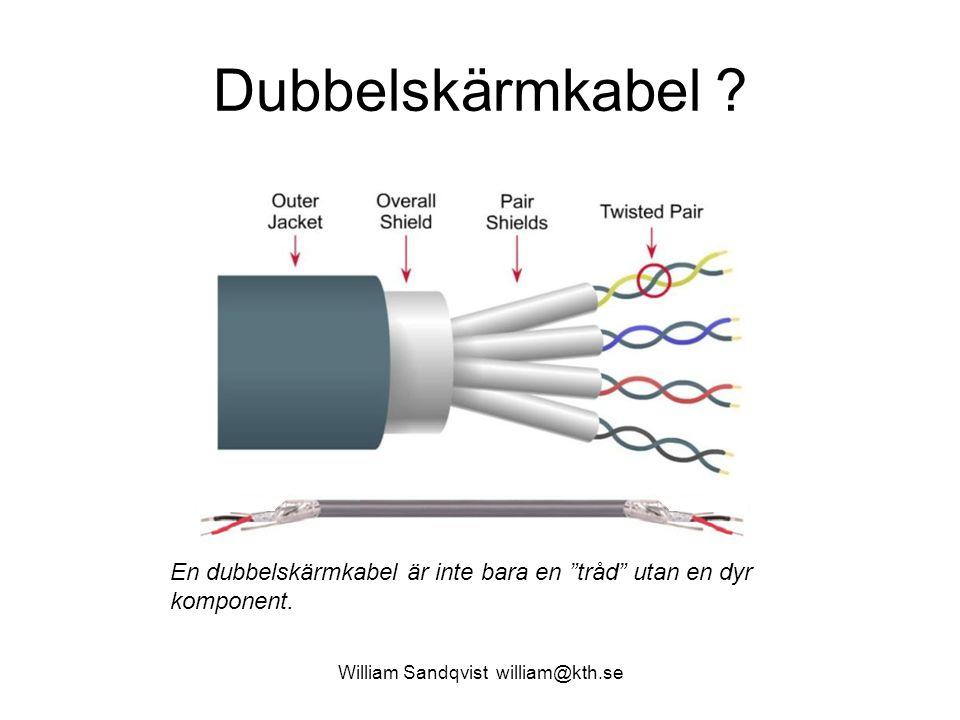 "Dubbelskärmkabel ? William Sandqvist william@kth.se En dubbelskärmkabel är inte bara en ""tråd"" utan en dyr komponent."