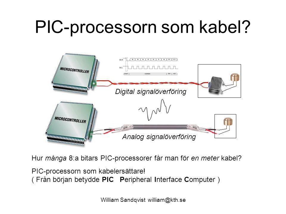 ELFA's billigaste PIC-processor William Sandqvist william@kth.se 4 kr st om Du köper 10 st … Programminne: 384 ord RAM-minne: 16 Byte 8 bit AD-omvandlare 2 kanaler Inbyggd oscillator 4 MHz TIMER0 Spänning 2…5,5 V Typisk strömförbrukning: 175μA PIC10F220T-I/OT Kan kompileras med Cc5x – includefil finns När datorkraft är så här billig öppnas helt nya möjligheter … Det är ett skäl till att det kan vara bra att lära sig PIC-processorer!