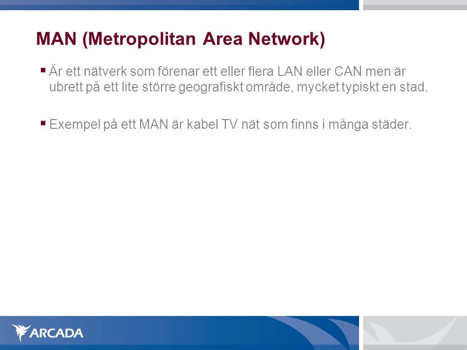 MAN (Metropolitan Area Network)  Är ett nätverk som förenar ett eller flera LAN eller CAN men är ubrett på ett lite större geografiskt område, mycke