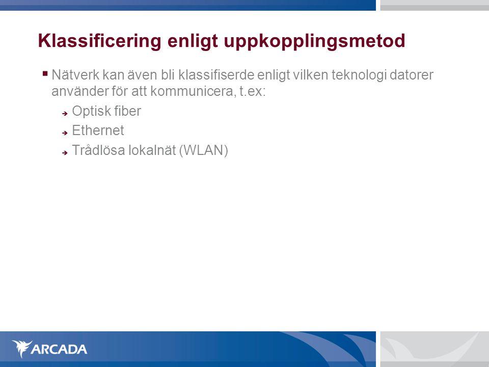 Klassificering enligt uppkopplingsmetod  Nätverk kan även bli klassifiserde enligt vilken teknologi datorer använder för att kommunicera, t.ex:  Opt