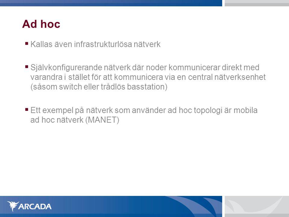 Ad hoc  Kallas även infrastrukturlösa nätverk  Självkonfigurerande nätverk där noder kommunicerar direkt med varandra i stället för att kommunicera