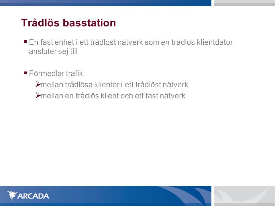 Trådlös basstation  En fast enhet i ett trådlöst nätverk som en trådlös klientdator ansluter sej till  Förmedlar trafik:  mellan trådlösa klienter