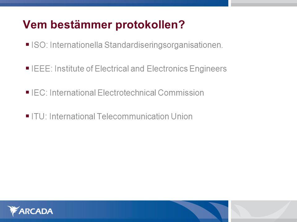 Vem bestämmer protokollen?  ISO: Internationella Standardiseringsorganisationen.  IEEE: Institute of Electrical and Electronics Engineers  IEC: Int
