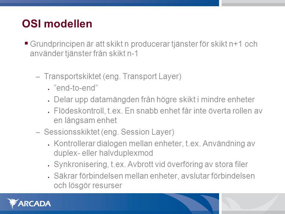 OSI modellen  Grundprincipen är att skikt n producerar tjänster för skikt n+1 och använder tjänster från skikt n-1 – Transportskiktet (eng. Transport
