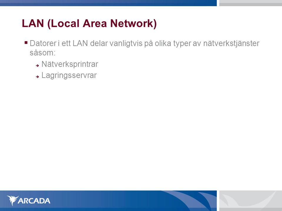 LAN (Local Area Network)  Datorer i ett LAN delar vanligtvis på olika typer av nätverkstjänster såsom:  Nätverksprintrar  Lagringsservrar