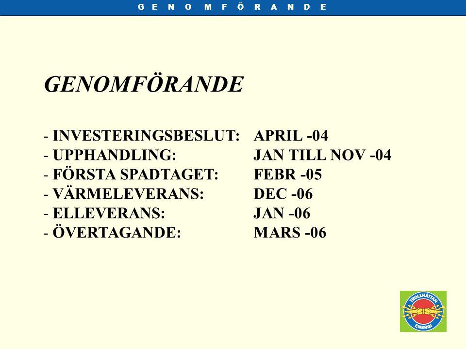 G E N O M F Ö R A N D E - INVESTERINGSBESLUT:APRIL -04 - UPPHANDLING:JAN TILL NOV -04 - FÖRSTA SPADTAGET:FEBR -05 - VÄRMELEVERANS:DEC -06 - ELLEVERANS