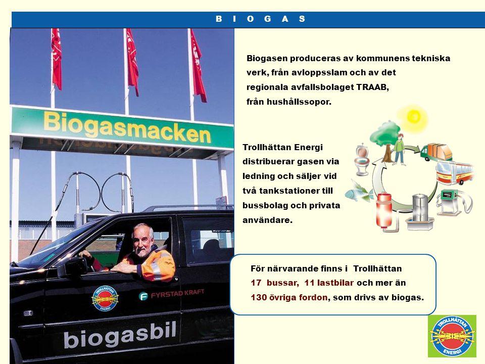 B I O G A S Biogasen produceras av kommunens tekniska verk, från avloppsslam och av det regionala avfallsbolaget TRAAB, från hushållssopor. Trollhätta