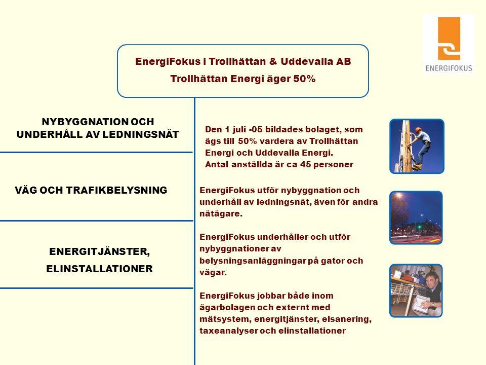 EnergiFokus i Trollhättan & Uddevalla AB Trollhättan Energi äger 50% NYBYGGNATION OCH UNDERHÅLL AV LEDNINGSNÄT VÄG OCH TRAFIKBELYSNING ENERGITJÄNSTER,