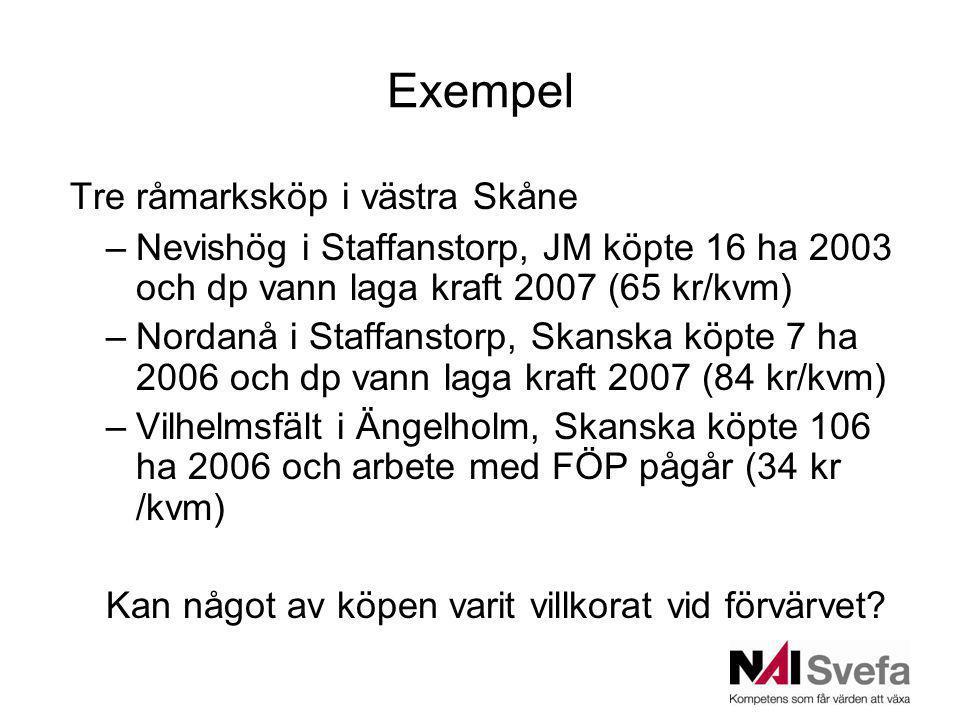 Exempel Tre råmarksköp i västra Skåne –Nevishög i Staffanstorp, JM köpte 16 ha 2003 och dp vann laga kraft 2007 (65 kr/kvm) –Nordanå i Staffanstorp, Skanska köpte 7 ha 2006 och dp vann laga kraft 2007 (84 kr/kvm) –Vilhelmsfält i Ängelholm, Skanska köpte 106 ha 2006 och arbete med FÖP pågår (34 kr /kvm) Kan något av köpen varit villkorat vid förvärvet?
