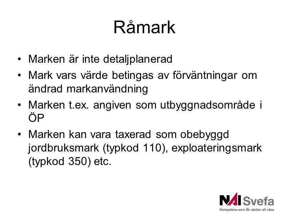 Råmark Marken är inte detaljplanerad Mark vars värde betingas av förväntningar om ändrad markanvändning Marken t.ex. angiven som utbyggnadsområde i ÖP