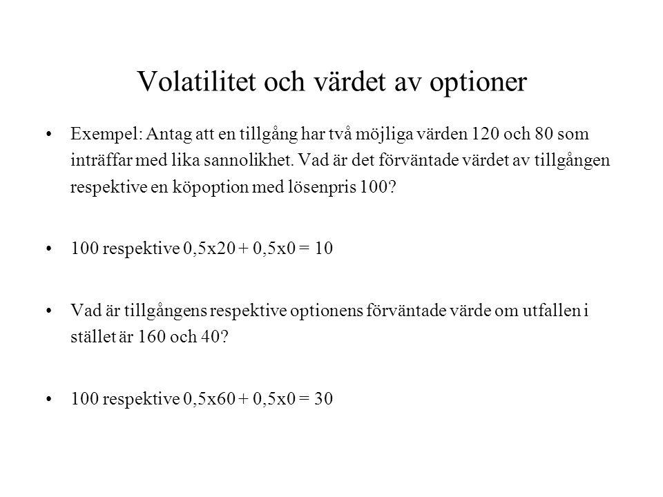 Volatilitet och värdet av optioner Exempel: Antag att en tillgång har två möjliga värden 120 och 80 som inträffar med lika sannolikhet. Vad är det för