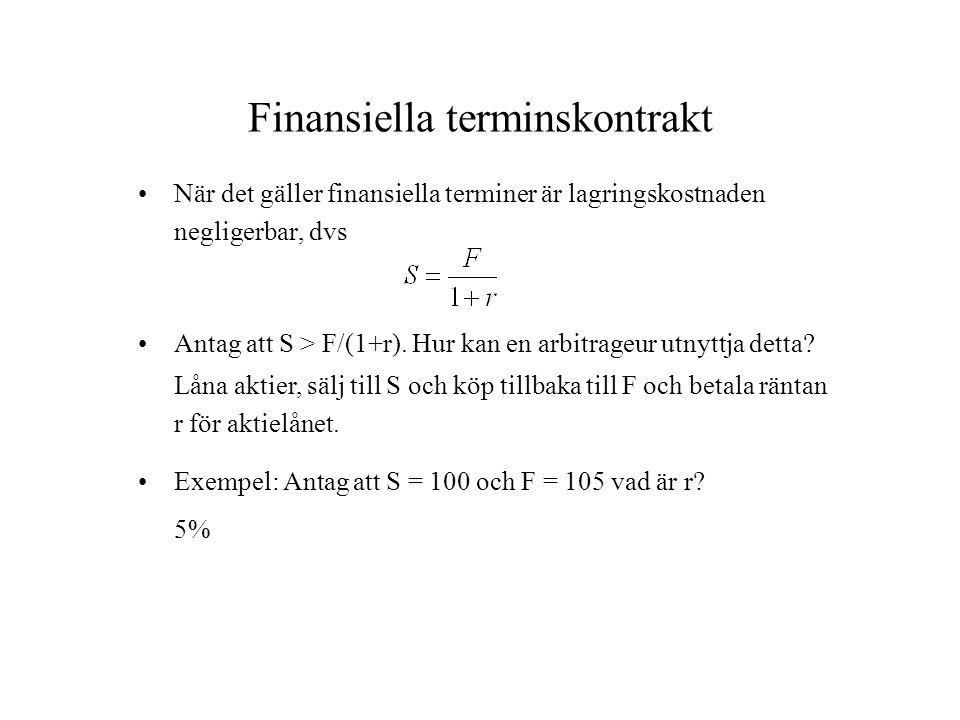 Finansiella terminskontrakt När det gäller finansiella terminer är lagringskostnaden negligerbar, dvs Antag att S > F/(1+r). Hur kan en arbitrageur ut