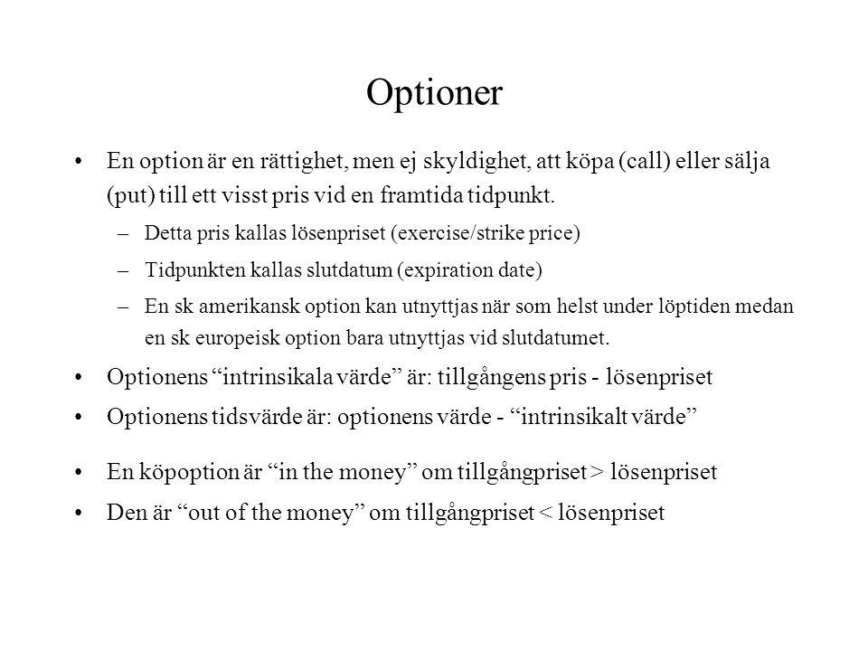 Optioner En option är en rättighet, men ej skyldighet, att köpa (call) eller sälja (put) till ett visst pris vid en framtida tidpunkt. –Detta pris kal
