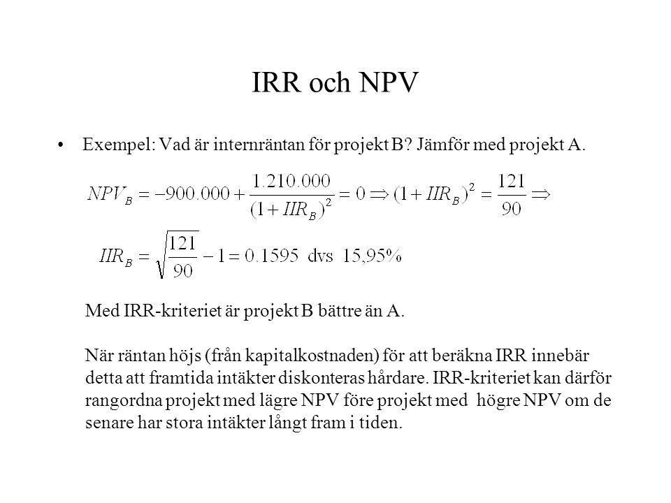 IRR och NPV Exempel: Vad är internräntan för projekt B? Jämför med projekt A. Med IRR-kriteriet är projekt B bättre än A. När räntan höjs (från kapita