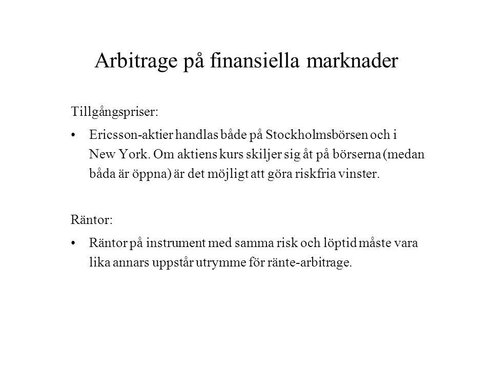 Arbitrage på finansiella marknader Tillgångspriser: Ericsson-aktier handlas både på Stockholmsbörsen och i New York. Om aktiens kurs skiljer sig åt på