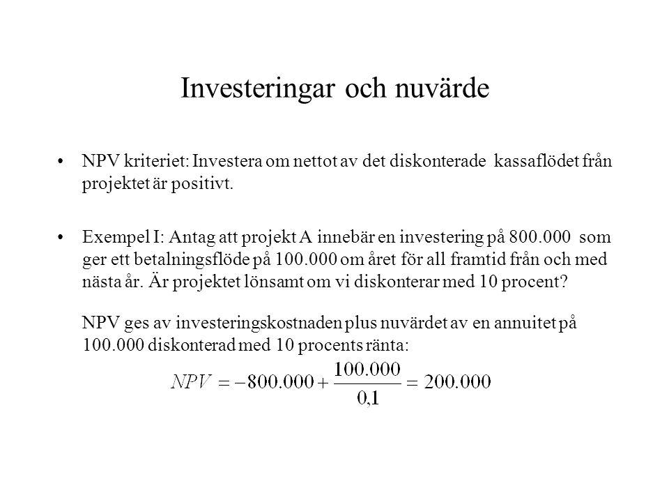 Investeringar och nuvärde NPV kriteriet: Investera om nettot av det diskonterade kassaflödet från projektet är positivt. Exempel I: Antag att projekt