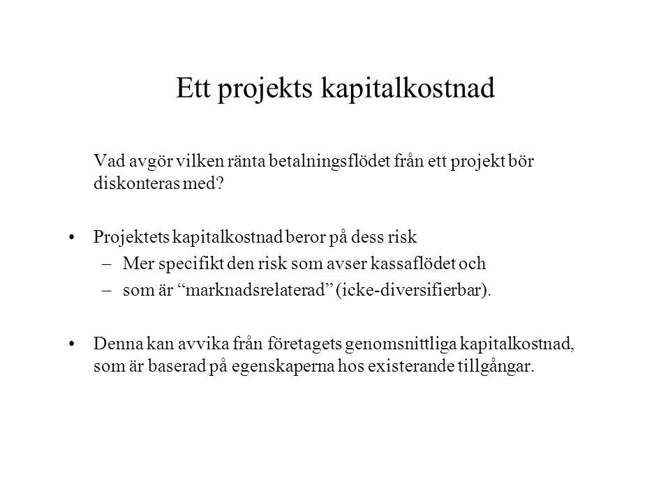 Ett projekts kapitalkostnad Vad avgör vilken ränta betalningsflödet från ett projekt bör diskonteras med? Projektets kapitalkostnad beror på dess risk